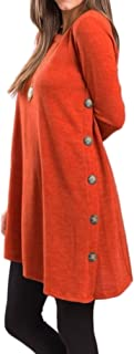 Halife Women's Casual Round Neck Long Sleeve Oblique Hem Side Button Tunic Tops