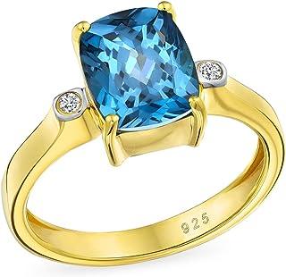 3.17CT Zircon Solitario Cuscino Taglio London Blue Topaz Engagement Ring per donna 14K Oro Placcato 925 Sterling Argento