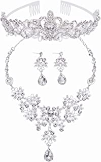 Bride Wedding Jewelry Sets Bling Crystal Tiaras Crown Necklace Earrings Kit Sparkling Bridal Hair Accessories for Wedding, Prom, Party