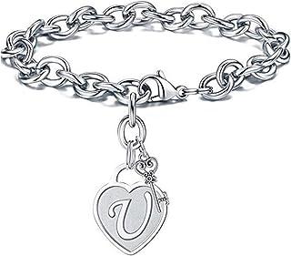 YSAHan Heart Key 26 Initial Letters Bracelet Anklet Stainless Steel Alphabet Adjustable Wrist Link for Women