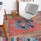 Anji Mountain Chair Mat Rug'd Collection, 1/4' Thick - For Low Pile Carpets & Hard Surfaces, Meknes , Blue and Red Floral Medallion