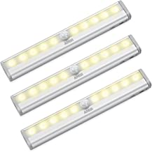 AMIR Motion Sensing Closet Lights, 3 Pack DIY Stick-on Anywhere Portable 10-LED Wireless Cabinet Night/Stairs/Step Light Bar with Magnetic Strip, Puck Lights (Warm White, Battery Operated)