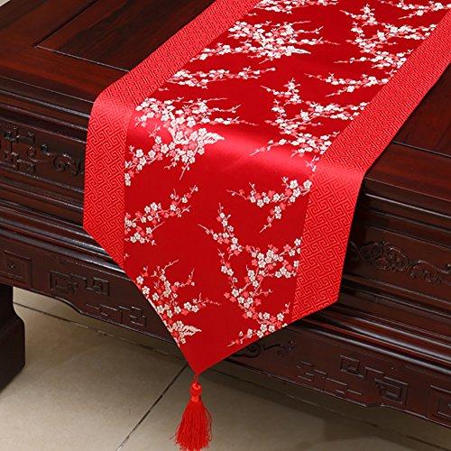 Neoklassische Quasten Tischläufer Brokat Esstisch Kissen ( Farbe : Red plum blossom , größe : 33*300cm )