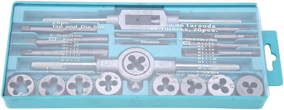 M3-M12 20 unidades matriz m/étrica de acero con llave de carraca ajustable 20 unidades Kit de roscar y hermano