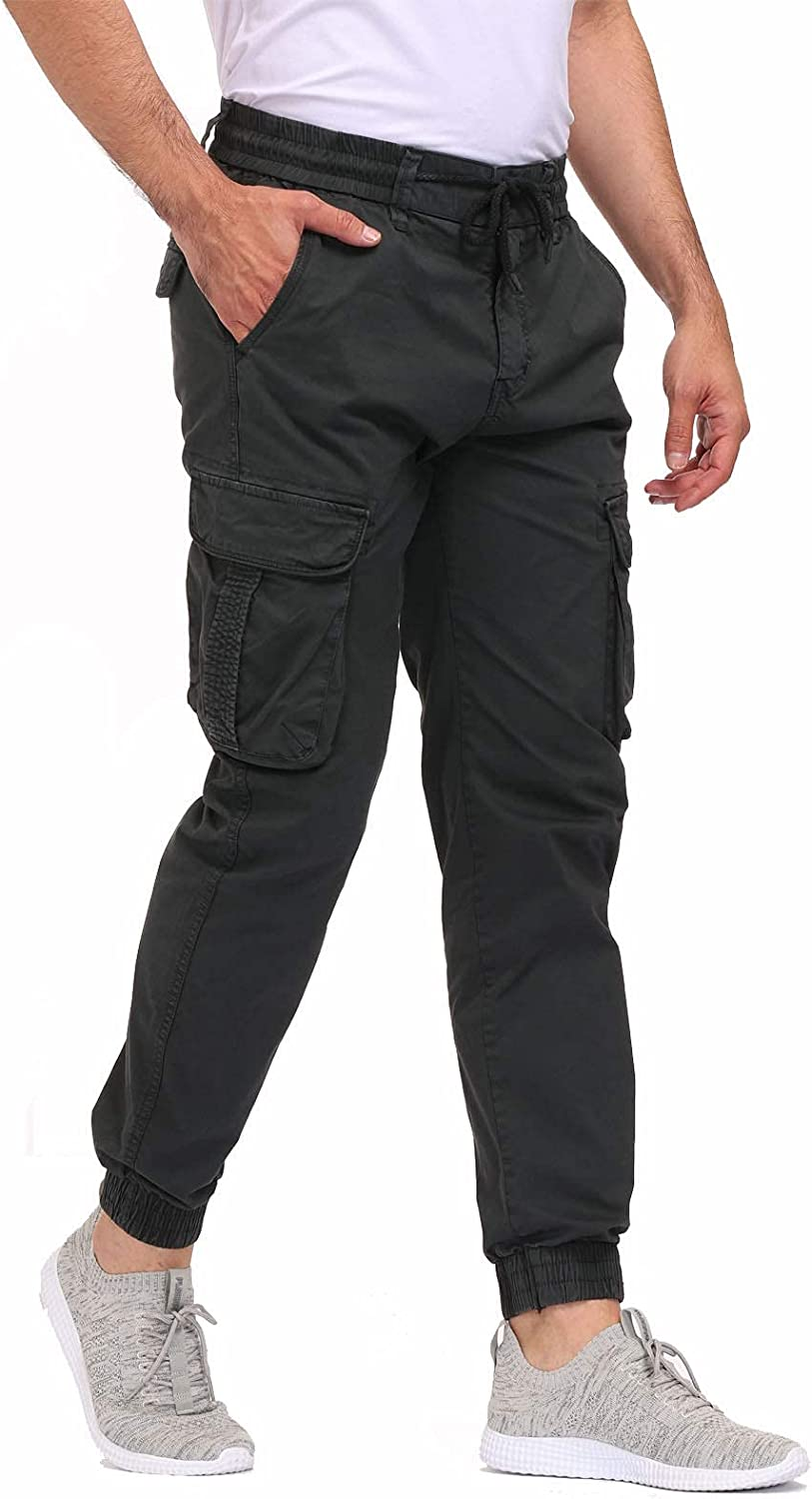 LEPOAR Men's Regular Tapered Cargo Pants Slim Fit Chino Joggers Work Trousers with Pockets