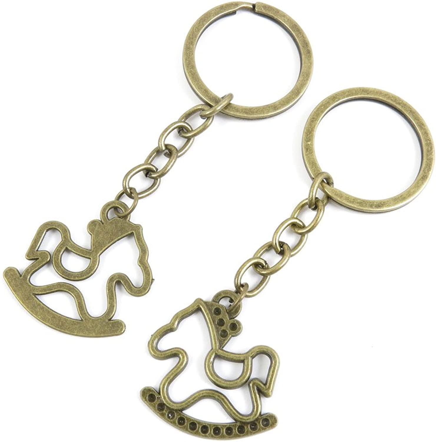 100 PCS Keyrings Keychains Key Ring Chains Tags Jewelry Findings Clasps Buckles Supplies W1TH4 Rocking Horse