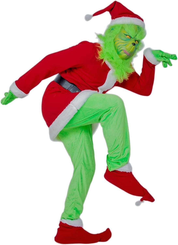 DealTrade Grinch Kostüm Cosplay Rot Outfit Top & Hosen & Gürtel & Weihnachten Hut für Erwachsene Halloween Costume Full Suit