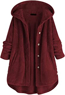 Fleece Irregular Plus Size Coat, QIQIU Womens Loose Warm Hooded Buttons Pocket Fashion Long Sleeve Jacket