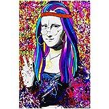 Xynfl Maquillaje Mona Lisa Carteles E Impresiones Lienzo Divertido Pintura Famosa Imagen Artística para Sala De Estar-60X80Cmx1 Sin Marco