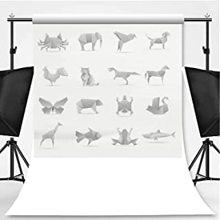 Asian Creative Origami Animals Vector Collection Photography Backdrop,079432 for Television,Flannelette:5x7ft