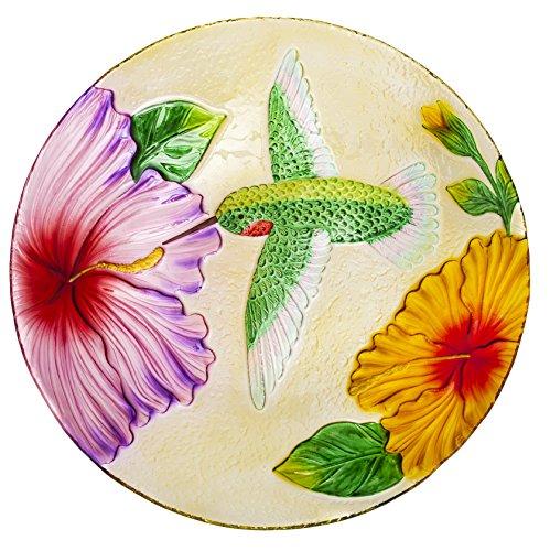 """Evergreen Garden Hummingbird Glass Bird Bath Bowl - 18""""L x 18""""W x 3.5""""H"""