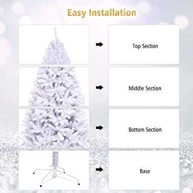 Goplus White Artificial Christmas Tree, 7.5ft Premium Unlit Hinged Spruce Full Tree, with Metal Stand, Easy Assembly, for Ind