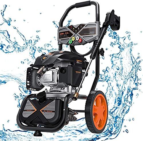 Hidrolimpiadora de Gasolina, 2800 PSI/190 Bar, 480 L/H, Motor OHV de 4 Tiempos de 209 CC, 6,5 HP, Tanque de jabón, Juego de 5 boquillas, Multiuso, Cumple con Carb