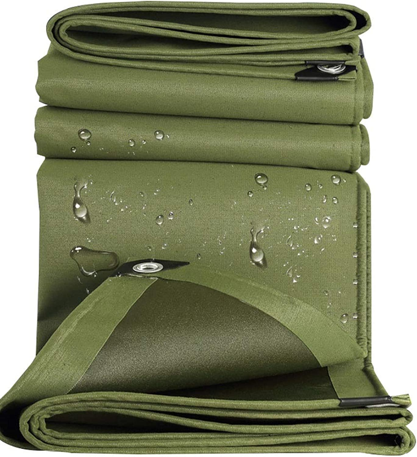 Tarp Heavy Duty Reinforced Canvas Tarp Waterproof Tarpaulin Ground Sheet Camping Tent Cover with Eyelets, Olive Drab (Size   2.8x4.8m)