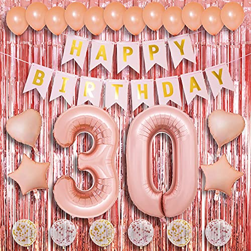 30th Birthday Decorations - Rose Gold Colored Party Theme - Happy Bday Banner, Balloon Numbers, Latex and Foil Balloons, Fringe Curtains - Celebrate Dirty Thirty with A Fun Photoshoot Backdrop