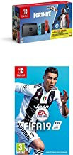 Nintendo Switch Neon Red/Blue Fortnite edition with Fifa 19 (cartridge) [Importación inglesa]