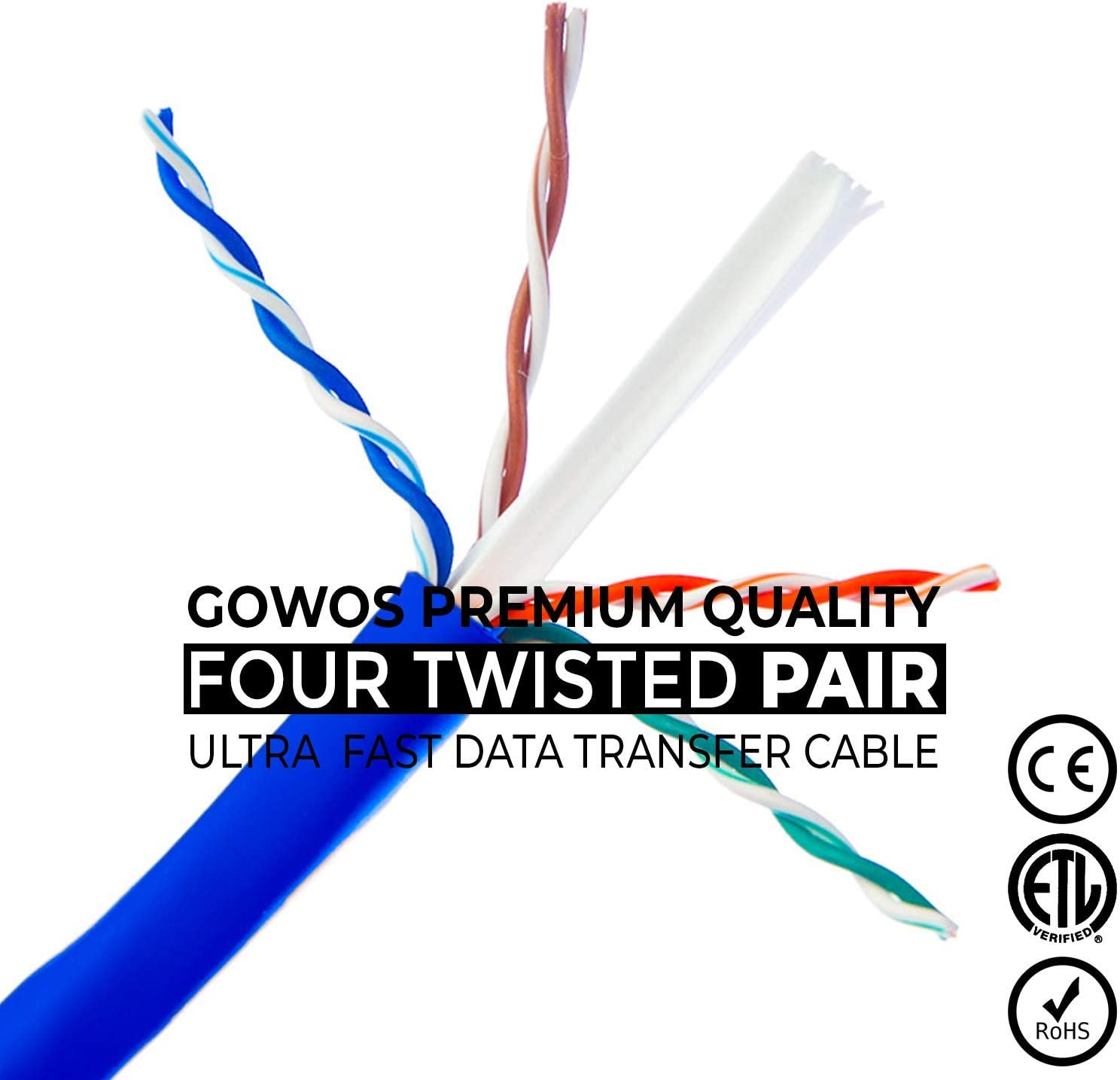 Computer Network Cable with Snagless Connector GOWOS 20-Pack UTP Cat5e Ethernet Cable 14 Feet - Orange Available in 28 Lengths and 10 Colors RJ45 10Gbps High Speed LAN Internet Patch Cord