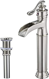 Aquafaucet Waterfall Bathroom Faucet Brushed Nickel Single Handle One Hole Vessel Sink Faucet Lavatory Tall body Commercial