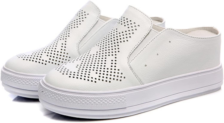 DFB Sautope Donna Inverno Alta Sautope Casual Lazy Versione Coreana Cuoio Vuoto Baotou Cool Pantofole Pantofole per Le Donne,bianca-37