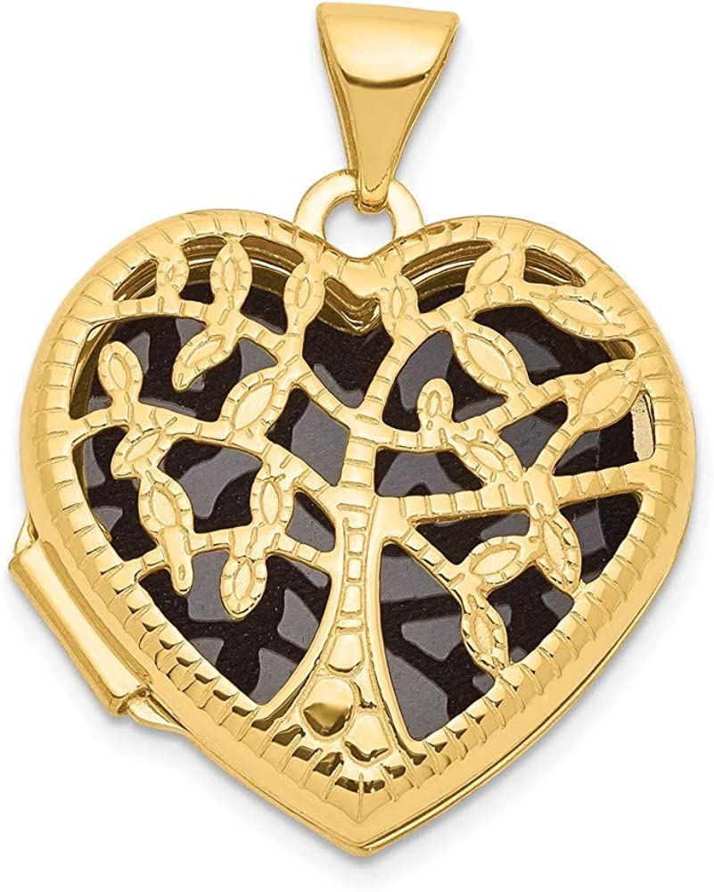 14k Yellow Gold 18mm Tree Heart Photo Pendant Charm Locket Chain Necklace That Holds Pictures Fine Jewelry For Women Gifts For Her