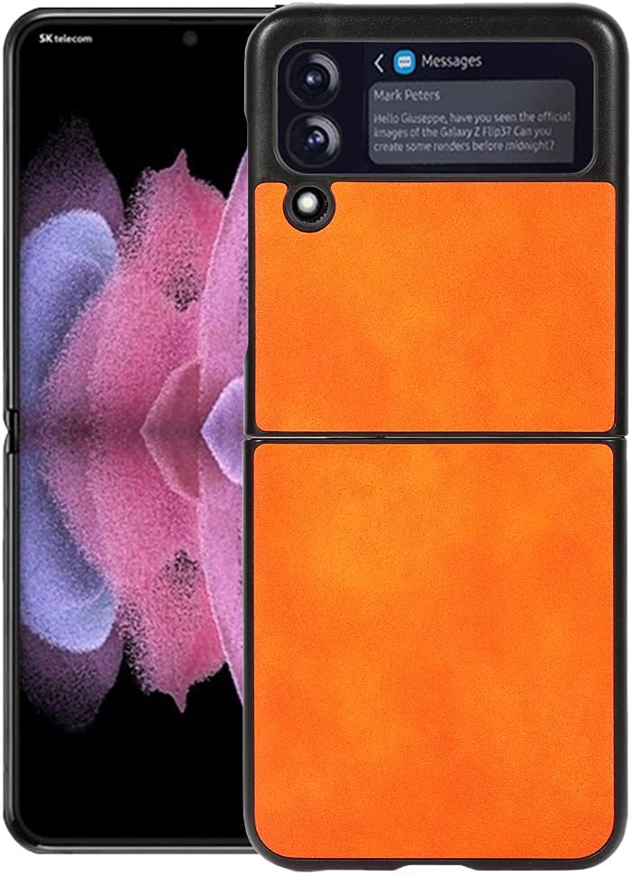 Ranyi for Samsung Galaxy Z Flip 3 5G Case, Ultra Slim Thin Leather Texture Case Shock Absorbing Full Body Protective Flexible Leather Bumper Case for for Samsung Galaxy Z Flip 3 5G 2021 -Orange