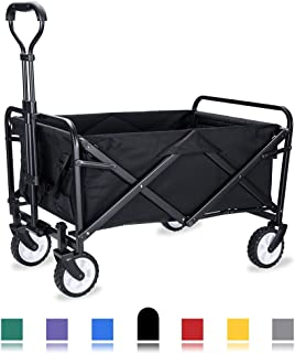 WHITSUNDAY Collapsible Folding Garden Outdoor Park Utility Wagon Picnic Camping Cart with Replaceable Cover (Compact Size 5