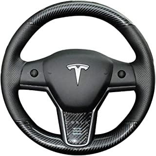 iPobootech Black Perforated Leather & Carbon Fiber Auto Steering Wheel Cover Hand-Stitch on Wrap Fit for Tesla Model 3