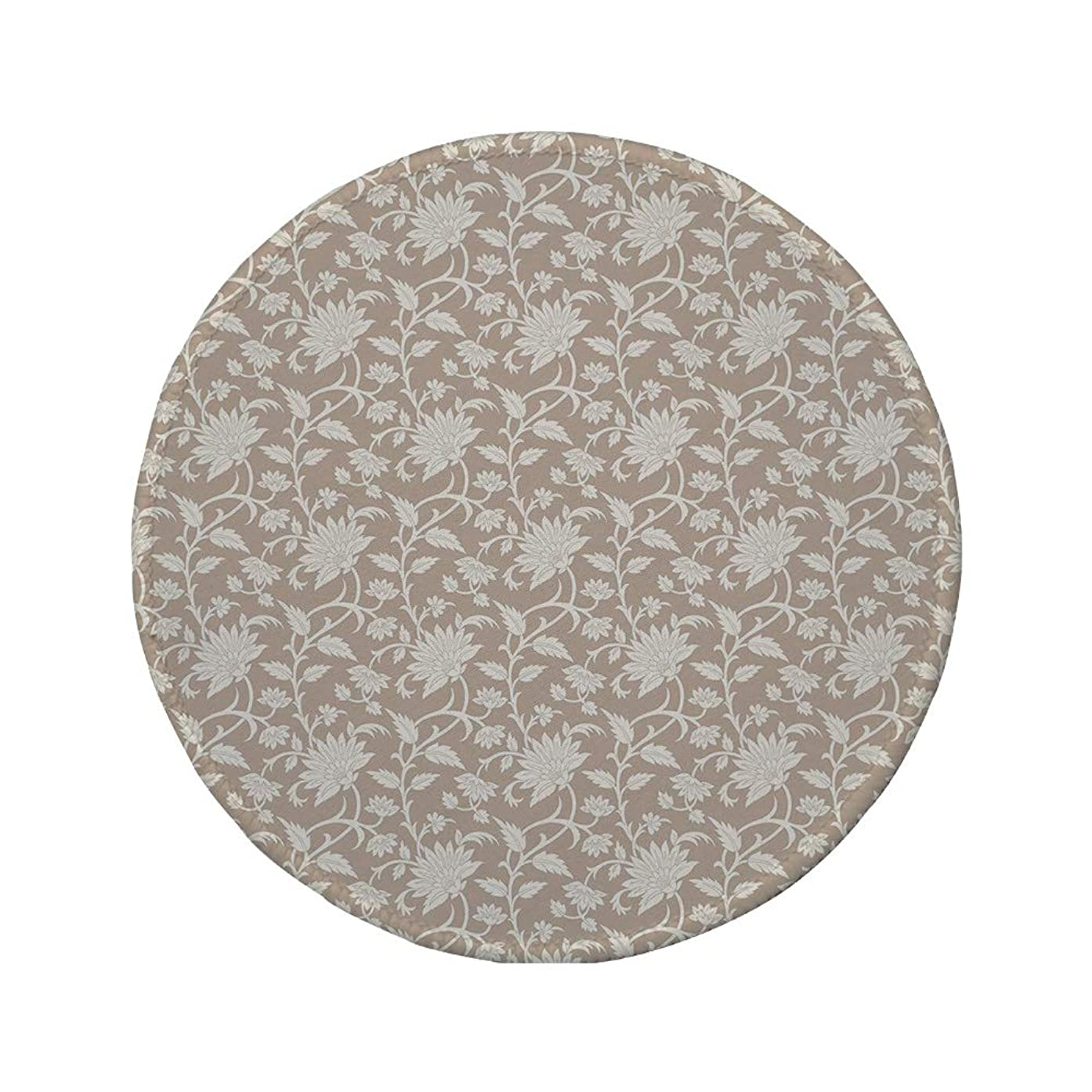 Non-Slip Rubber Round Mouse Pad,Floral,Floral Arrangement with Monochrome Design Natural Elements Abstract Pattern Leaves,Tan Cream,11.8