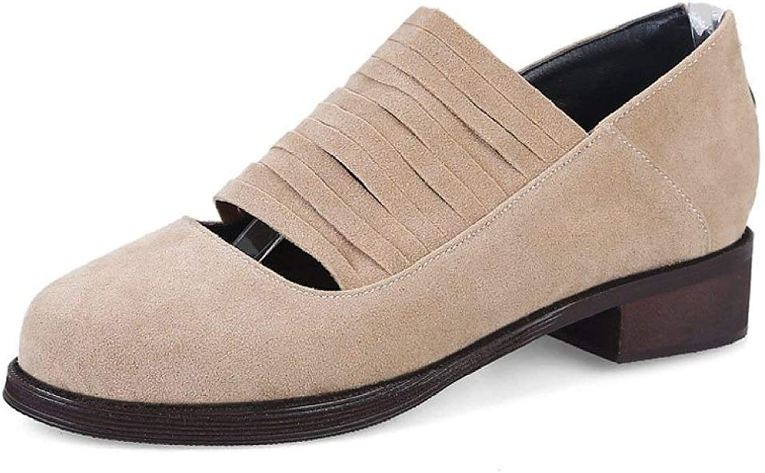 Fay Waters Women's Suede Cut Out Oxfords Round Toe Slip On Low Heel Hollow Loafer shoes