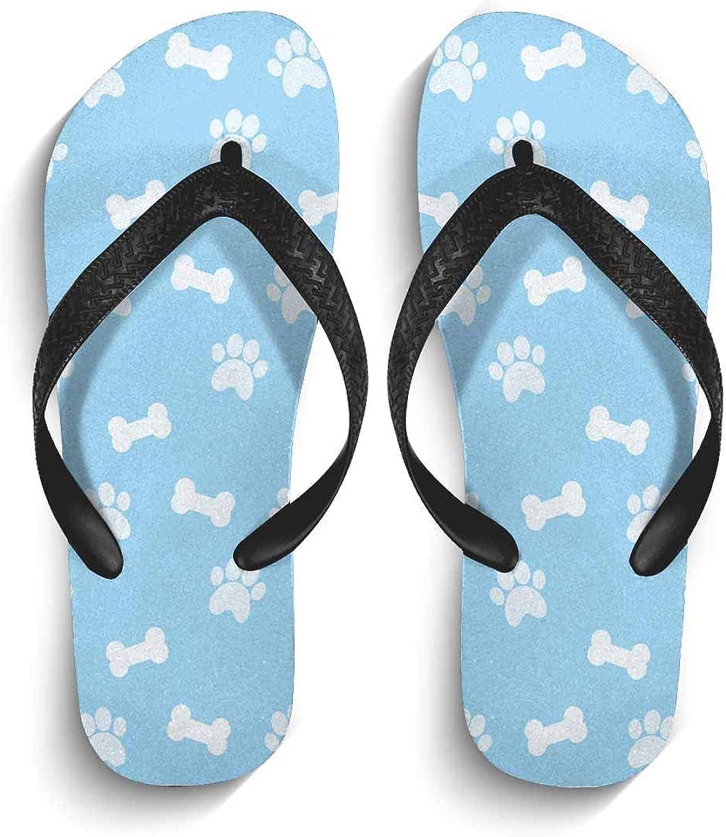 InterestPrint Men's Flip Flop Slippers Bones and Paws Summer Beach Thong Sandal L