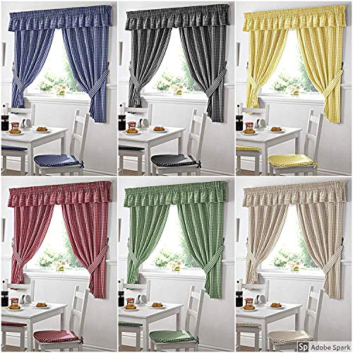 Gingham Kitchen Curtains Yellow 46 x 48 by Yorkshire Linen