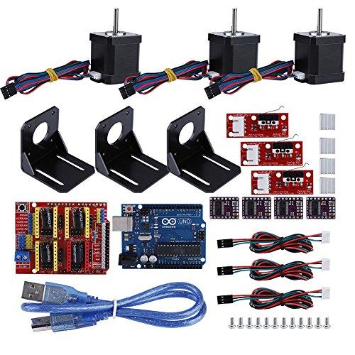 Zunate Professional CNC Kit for Arduino per Stampante 3D, Kuman GRBL CNC + Rampe 1.4 Scudo + Scheda Uno R3 + Interruttore Meccanico DRV8825 Driver Motore Passo A4988 con dissipatore + Motore NEMA 17
