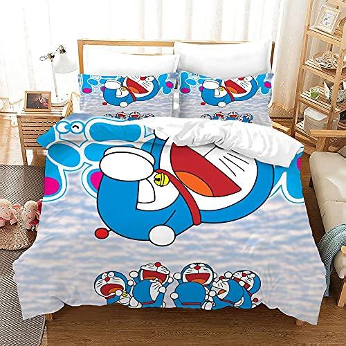 YGWDPX Doraemon Juego de Funda de Edredón 240x260 cm Juego de Ropa de Cama 3 Piezas Incluye 1 Funda Nórdica con Cierre de Cremallera y 2 Funda de Almohada 50x75 cm,Suave Transpirable