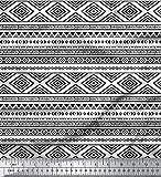 Soimoi Weiß Baumwoll-Popeline Stoff aztekisch geometrisch