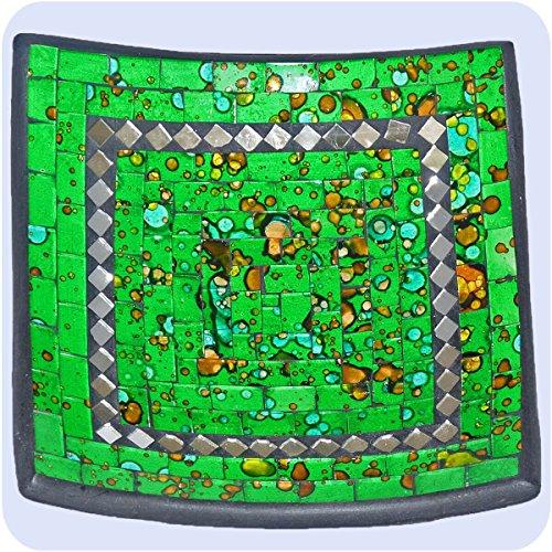 Simandra Plat mosaïque de Verre Bol d'argile, Assiette Fait Main en Bali Artisanat décoration de la Maison Multicolore -Miroir carré- 15x4 cm Color Vert