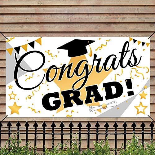Ivenf Graduation Decorations 2021 Party Backdrop Banner, Extra Large 71' x 40' White Gold Photo Booth Props Decorations, Congrats Grad Home for Outdoor Indoor Supplies
