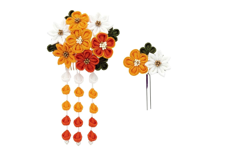 (ソウビエン) 髪飾り つまみ細工 2点セット 橙色 梅 菊 花 コサージュ 縮緬 ぶら飾り コーム Uピン 日本製