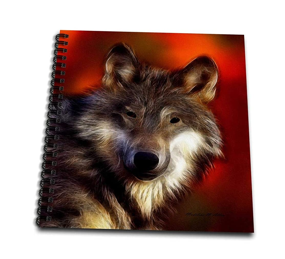 3dRose db_101140_1 Lobo Wolf on a Red Background Drawing Book, 8 by 8