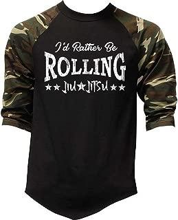 Men's I'd Rather Be Rolling Jiu Jitsu Camo Raglan Baseball T-Shirt Camo