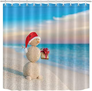 LB Tropical Christmas Shower Curtain,3D Printing Sand Snowman on Beach Scene Funny Xmas Bathroom Curtain Waterproof Fabric Bathroom Decor 72x72 Inch