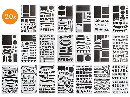 BLISSANY sjablonen set - 20 stuks, tekensjablonen/sjablonen om te tekenen, voor Bullet Journal, scrapbooking/scrapbook, DIY, veel verschillende designs - letters, cijfers, patronen - van kunststof