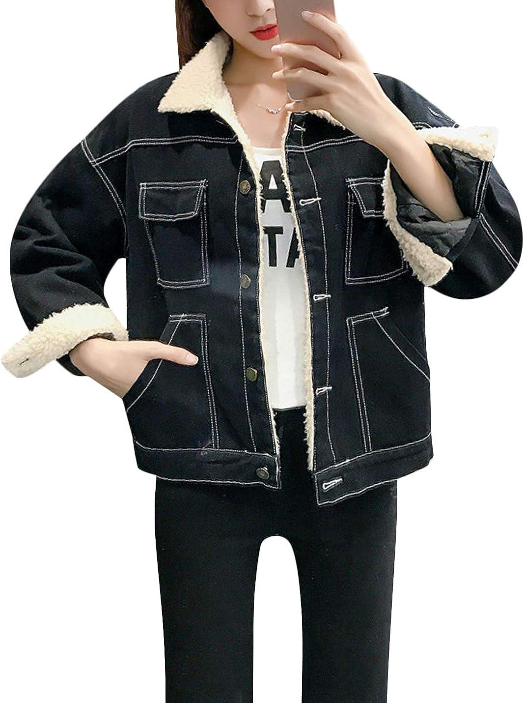 Year-end gift Springrain Bargain sale Women's Winter Casual Lined Sherpa Jacket Denim
