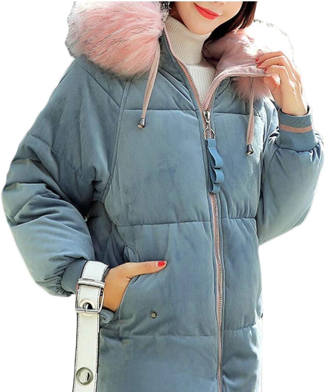 Gocgt Womens Hooded Warm Winter Coats Faux Fur Jackets Parka Overcoat