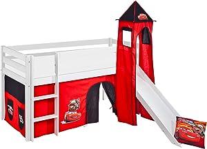 Lilokids Lit Mezzanine JELLE Disney Cars - lit d'enfant Blanc - avec Toboggan, Tour et Rideau - lit 90x190 cm