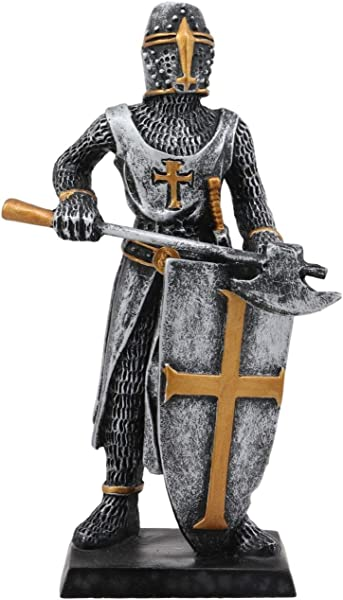 Ebros Gift Medieval Knight Crusader Axeman Dollhouse Miniature Figurine 4 H Suit Of Armor Axe Man With Shield Of Faith Sculpture Decor As Renaissance War Military Icon