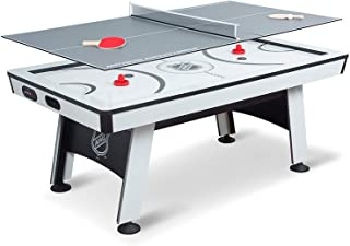 NHL Power Play Air Powered Hockey Table with Table Tennis Top - 80 Inches - Includes Hover Hockey Pucks, Pushers, Table Tennis Balls, Paddles, and Net