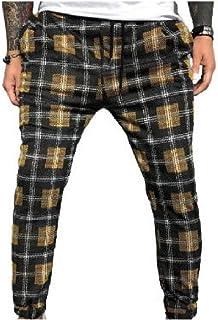 Winwinus Men's Print Pockets Color Block Stretchy Drawstring Personalized Sweatpants