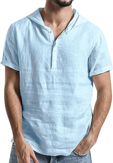 Camisas Lino Hombre Manga Corta con Capucha Verano Camisa ...