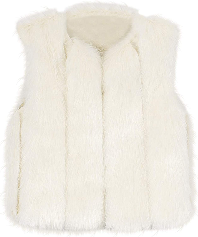 GoodLock Unisex Kids Baby Girls Faux Fur Waistcoat Autumn Winter Warm Clothes Thick Vest Outwear Sleeveless Coat 1-7T TM