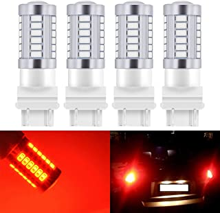 KATUR 4pcs 3157 3047 3057 3155 5630 33-SMD Red 900 Lumens Super Bright LED Turn Tail Brake Stop Signal Light Lamp Bulb 12V 3.6W